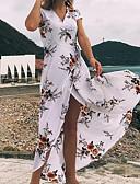 tanie Print Dresses-Damskie Boho / Wyrafinowany styl Rękaw motylek Pochwa Sukienka - Kwiaty, Nadruk Maxi Czarno-czerwony