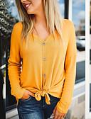 baratos Blusas Femininas-t-shirt feminina - decote em v maciço