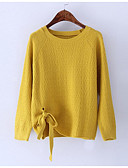 cheap Women's Sweaters-Women's Daily Solid Colored Long Sleeve Regular Pullover Yellow / Light Blue / Khaki M / L / XL