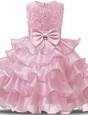 abordables robe mariage civil-Enfants Bébé Fille Actif Doux Quotidien Vacances Couleur Pleine Fleur Noeud Plissé Maille Sans Manches Midi Robe Violet