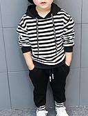 זול סטים של ביגוד לבנים-סט של בגדים כותנה שרוול ארוך פסים בסיסי בנים פעוטות