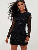 cheap Romantic Lace Dresses-Women's Daily Elegant Slim Sheath Dress Crew Neck Black M L XL / Sexy