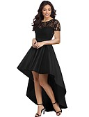 cheap Evening Dresses-Women's Party Elegant Maxi Skinny Trumpet / Mermaid Dress - Solid Colored Lace High Waist Crew Neck Summer Black Red Royal Blue M L XL / Sexy