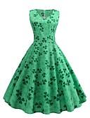 povoljno Vintage kraljica-Žene Ulični šik Swing kroj Haljina - Print, Cvjetni print V izrez Do koljena