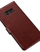 Недорогие Защитные плёнки для экрана iPhone-Кейс для Назначение SSamsung Galaxy S8 Plus / S8 Кошелек / Бумажник для карт / со стендом Чехол Однотонный Мягкий Кожа PU