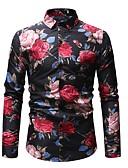 abordables Camisas de Hombre-Hombre Básico Estampado - Algodón Camisa Floral / Bloques Blanco XL / Manga Larga