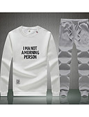 cheap Men's Hoodies & Sweatshirts-Men's Active / Street chic Long Sleeve Set - Letter Print Round Neck White XXL / Winter