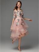 preiswerte Abendkleider-A-Linie Schulterfrei Asymmetrisch Satin / Tüll High Low Cocktailparty Kleid mit Applikationen durch TS Couture®