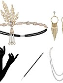cheap Historical & Vintage Costumes-The Great Gatsby 1920s The Great Gatsby Roaring 20s Costume Women's Gloves Flapper Headband Head Jewelry Earrings Pearl Necklace Golden / Black+Sliver / Golden+Black Vintage Cosplay Party Prom