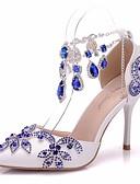 cheap Cocktail Dresses-Women's PU(Polyurethane) Spring & Summer Classic Wedding Shoes Stiletto Heel Pointed Toe Rhinestone / Buckle / Tassel Blue