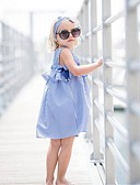 cheap Girls' Dresses-Toddler Girls' Active / Sweet Daily / Going out Blue & White Striped Bow / Pleated Sleeveless Knee-length Cotton Dress Blue