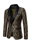 preiswerte Herren Blazer & Anzüge-Herrn Alltag Grundlegend Standard Blazer, Solide V-Ausschnitt Langarm Baumwolle / Polyester Gold / Weiß / Schwarz L / XL / XXL
