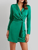 cheap Work Dresses-Women's Party / Birthday Basic Sheath Dress - Solid Colored Spring Green M L XL