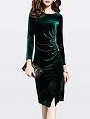hesapli Romantik Dantel-Kadın's Büyük Bedenler Dışarı Çıkma Kadife Kılıf Elbise - Solid Diz-boyu