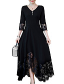 cheap Women's Two Piece Sets-Women's Plus Size Daily Maxi A Line Dress - Solid Colored Black, Lace Trims V Neck Spring Black 4XL XXXXXL XXXXXXL