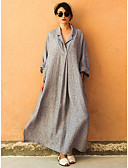 cheap Maxi Dresses-Women's Plus Size Daily Elegant Maxi Loose Oversized Abaya Dress - Solid Colored Shirt Collar Black Pink Gray XXXL XXXXL XXXXXL