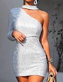 baratos Blusas Femininas-Mulheres Elegante Delgado Bainha Vestido Sólido Gola Redonda Acima do Joelho / Sexy