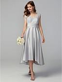Χαμηλού Κόστους Φορέματα Παρανύμφων-Γραμμή Α Λαιμόκοψη V Ασύμμετρο Δαντέλα / Σατέν Φόρεμα Παρανύμφων με Δαντέλα με LAN TING BRIDE®