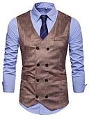 お買い得  メンズTシャツ&タンクトップ-男性用 パーティー タンクトップ スリム 幾何学模様 ブラウン L / ノースリーブ