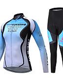 abordables Ropa de Triatlón-TELEYI Manga Larga Maillot de Ciclismo con Mallas Bib / Maillot de Ciclismo con Mallas - Negro / azul Bicicleta Transpirable Palabra / Elástico