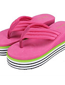 hesapli Tişört-Kadın's Ayakkabı Kanvas Bahar Tatlı / Minimalizm Terlik & Flip-flops Platform Günlük için Yeşil / Mavi / Pembe