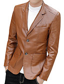 cheap Men's Jackets & Coats-Men's Daily Street chic Fall & Winter Regular Leather Jacket, Contemporary Notch Lapel Long Sleeve PU / Polyester Black / Wine / Khaki XL / XXL / XXXL