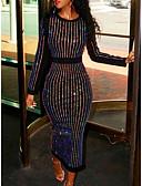 abordables Robes Soirée-Femme Soirée Basique Au dessus du genou Mince Gaine Robe - Paillettes Perlé Bandes Noir XL XXL XXXL Manches Longues