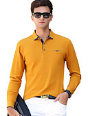 お買い得  メンズTシャツ&タンクトップ-男性用 ベーシック Polo 活発的 シャツカラー スリム ソリッド コットン / 長袖