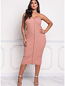 tanie Print Dresses-Damskie Elegancja Szczupła Pochwa Sukienka - Solidne kolory Bez ramiączek Midi / Seksowny