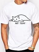 お買い得  メンズTシャツ&タンクトップ-男性用 プリント Tシャツ ベーシック ラウンドネック 動物 / レタード コットン ブラック&ホワイト ホワイト XL / 半袖