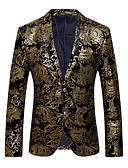 ieftine Blazer & Costume de Bărbați-Bărbați Petrecere / Zilnic / Club Sofisticat / Exagerat Primăvară / Toamnă Regular Blazer, Floral În V Manșon Lung Bumbac / Poliester Imprimeu Auriu / Argintiu XL / XXL / XXXL / Zvelt