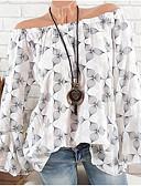 baratos Camisas Femininas-Mulheres Blusa Moda de Rua Frufru / Ombro a Ombro / Tropical, Poá / Floral / Estampado Ombro a Ombro