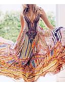 cheap Print Dresses-Women's Daily Basic Maxi Sheath Swing Dress - Geometric High Waist Deep V Rainbow M L XL / Sexy