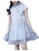 levne Print Dresses-Děti Dívčí Vintage / Čínské vzory Květinový / Patchwork Krajka / Tisk Krátký rukáv Bavlna / Polyester Šaty Šedá
