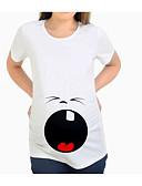 halpa Yläosat-Naisten Yhtenäinen / Geometrinen Perus Äitiyskoko - T-paita Valkoinen