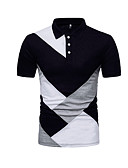 levne Pánská tílka-Pánské - Barevné bloky Základní Polo, Patchwork Bavlna Košilový límec Bílá XL / Krátký rukáv / Léto