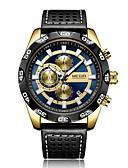 baratos Couro-Homens Relógio de Pulso Quartzo Preta Calendário Relógio Casual Analógico Casual Fashion - Dourado / Aço Inoxidável