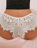 cheap Sexy Bodies-Women's Plus Size Lace Sexy G-strings & Thongs Panties / Briefs Solid Colored Mid Waist White Black XL XXL XXXL
