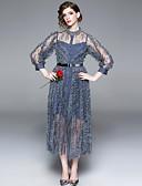 economico Maglie donna-Per donna Essenziale / Elegante Linea A / Fodero Vestito - Con balze / Collage, Tinta unita Medio
