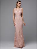 preiswerte Abendkleider-Eng anliegend Schmuck Boden-Länge Spitze Abiball Kleid mit Schärpe / Band durch TS Couture®