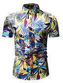 זול חולצות לגברים-עצים\עלים צווארון קלאסי בסיסי / סגנון רחוב מועדונים חולצה - בגדי ריקוד גברים דפוס פול / שרוולים קצרים