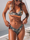 cheap One-piece swimsuits-Women's Strap Army Green Cheeky Bikini Swimwear - Camo / Camouflage S M L Army Green / Sexy
