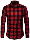 levne Pánské košile-Pánské - Pléd Business Košile Vodní modrá L / Dlouhý rukáv