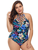 זול בגדי ים במידות גדולות-פול XL XXL XXXL גב חשוף גיאומטרי, בגדי ים חלק אחד (שלם) מותן גבוה פול קולר בסיסי בגדי ריקוד נשים / סקסית