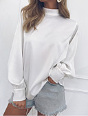 preiswerte Bluse-Damen Solide - Grundlegend Baumwolle Bluse, Rundhalsausschnitt Schlank Rüsche / Vintage Stil Schwarz L / Frühling / Sommer / Herbst / Winter