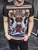 お買い得  新着 メンズシャツ-男性用 アジア人サイズ Tシャツ ストリートファッション ラウンドネック グラフィック / フラワープリント ファンタスティック・`ビースト / 半袖