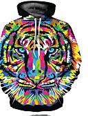お買い得  メンズフーディー&スウェットシャツ-男性用 ストリートファッション 長袖 パーカー - 動物 / カートゥン フード付き