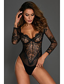 cheap Sexy Bodies-Women's Super Sexy Lace Lingerie / Teddy / Bodysuits Nightwear - Lace / Print Embroidered White Black Red M L XL / Deep V