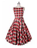 tanie W stylu vintage-Damskie Impreza Wyjściowe Vintage Elegancja Szczupła Linia A Sukienka - Kratka Midi