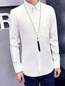 hesapli Erkek Gömlekleri-Erkek Pamuklu İnce - Gömlek Solid Temel Siyah / Uzun Kollu